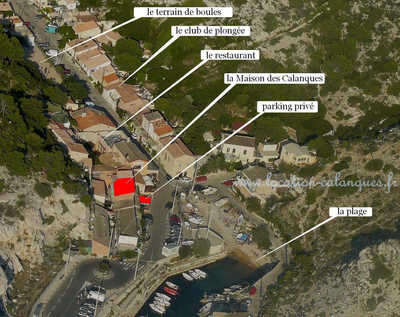 La Maison des Calanques vue par hélicoptère